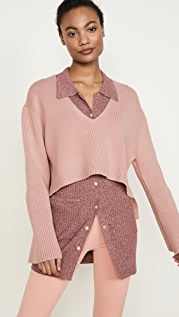 LIVE THE PROCESS High Low V Neck Sweater