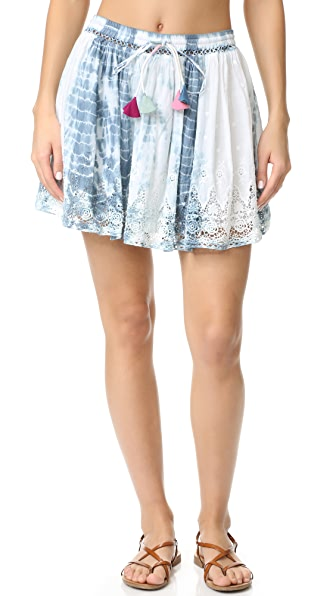 LOVESHACKFANCY Phoebe Skirt - Blue Tie Dye