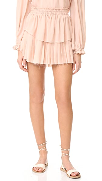 LOVESHACKFANCY Ruffle Miniskirt - Powder Pink