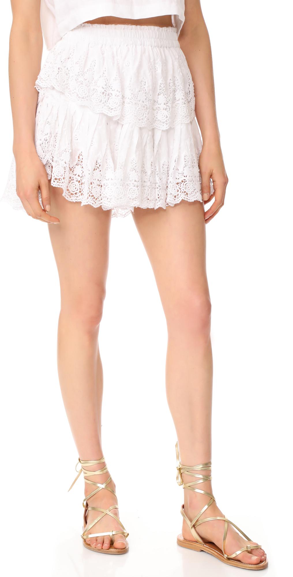 Prairie Lace Ruffle Miniskirt LOVESHACKFANCY