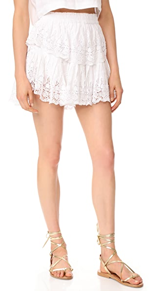 LOVESHACKFANCY Prairie Lace Ruffle Miniskirt - White