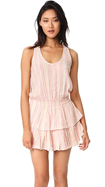 LOVESHACKFANCY Metallic Stripe Ruffle Racer Mini Dress - Pink/Cream