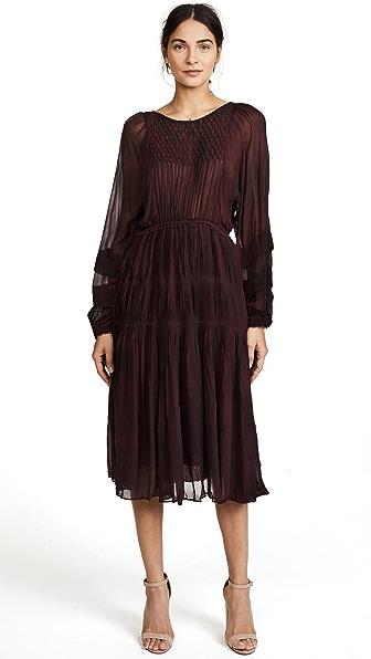 LOVESHACKFANCY Pleated Noelle Midi Dress In Light Eggplant