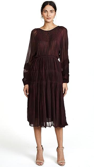 LOVESHACKFANCY Pleated Noelle Midi Dress