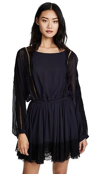 LOVESHACKFANCY Noelle Dress with Lace Trim In Navy/Black
