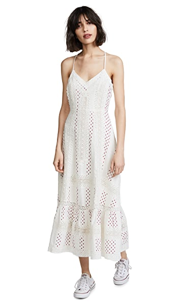 Marlow Crocheted Lace-trimmed Printed Cotton Midi Dress - Ivory LoveShackFancy E62thIrCZ