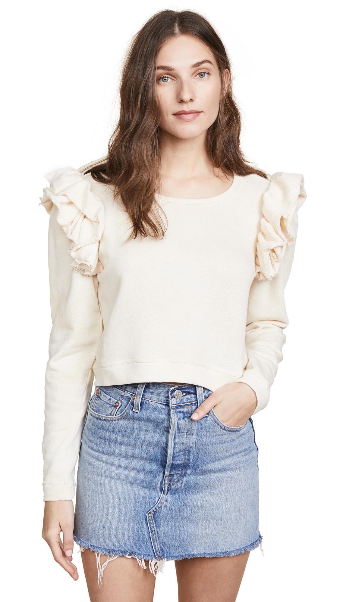 LOVESHACKFANCY Corinne Crop Sweatshirt
