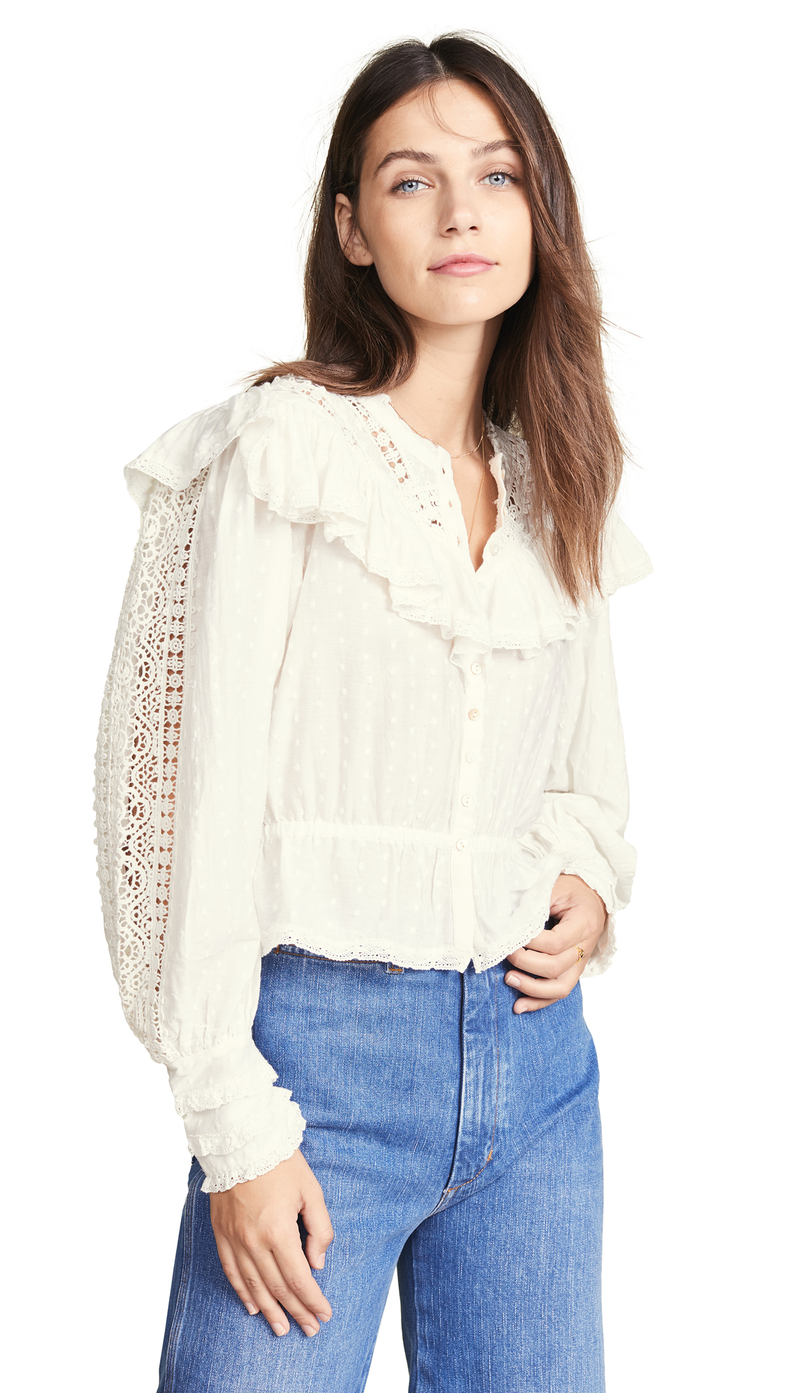 LOVESHACKFANCY Suzanne Top - Antique White