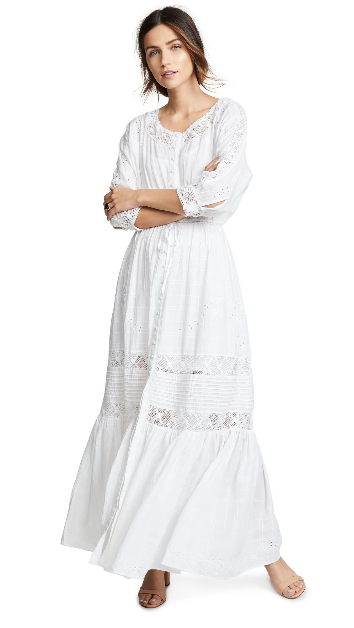 LOVESHACKFANCY Callan Floral-Embroidered Eyelet A-Line Maxi Dress in White