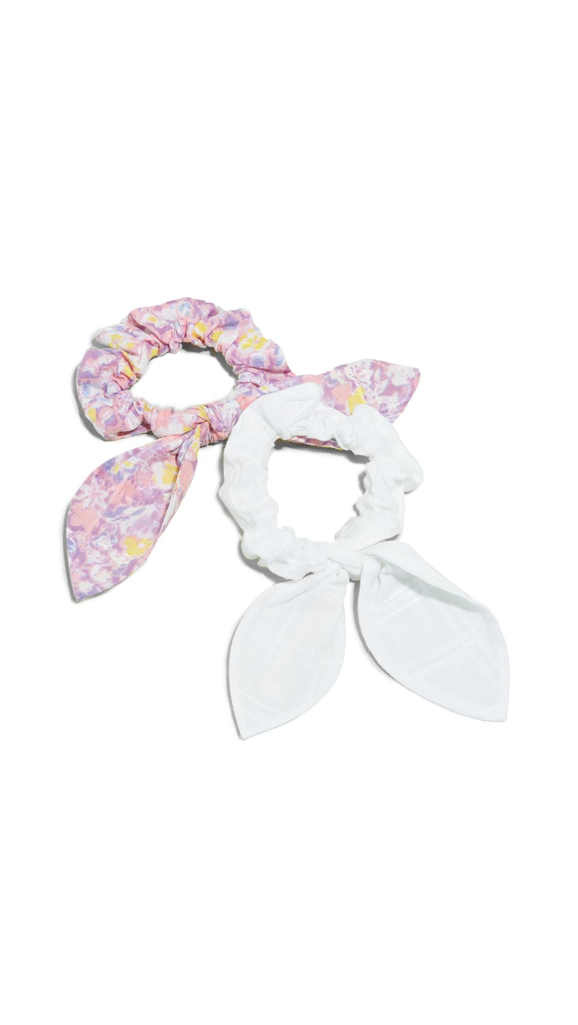 LOVESHACKFANCY Penny Scrunchie Set - White/Jet Set