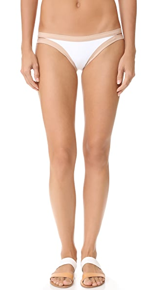 L*Space Charlie Colorblock Bikini Bottoms - White