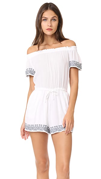L*Space Spring Fling Romper In White/Slated Glass