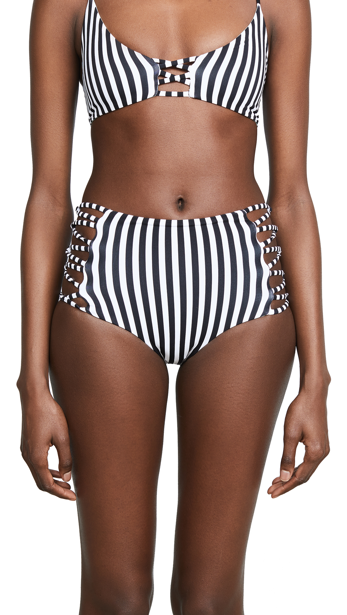 L*Space Reversible Tripp Bikini Bottoms In Domino Stripe