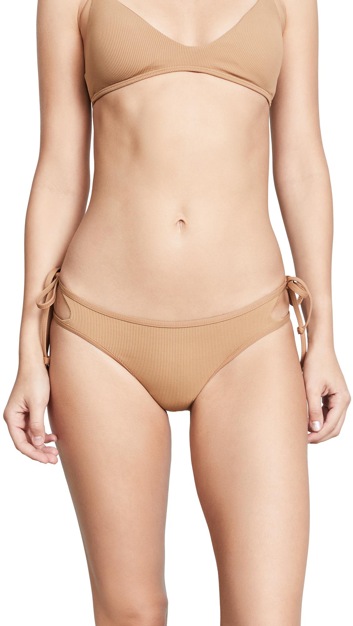 L*Space Ridin' High Ribbed Paradise Bikini Bottoms In Camel