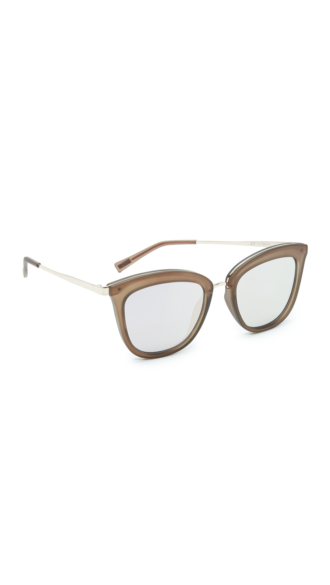These tinted, mirrored Le Specs sunglasses are framed in frosted acetate and trimmed with gold tone metal at the top rim. Soft envelope case included. Square frame. Non polarized lenses. Imported, China. Measurements Width: 5.75in / 14.5cm