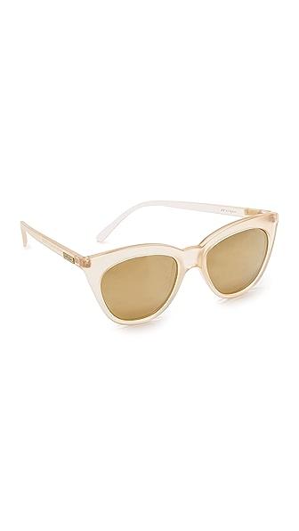 Le Specs Half Moon Magic Polarized Sunglasses In Raw Sugar/Gold Revo