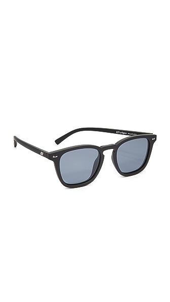 Le Specs Polarized No Biggie Sunglasses - Black Rubber/Smoke Mono