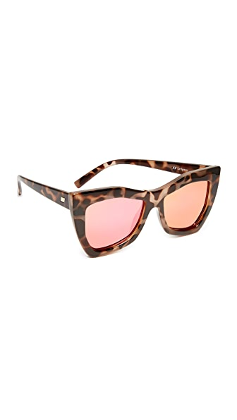 Le Specs Kick It Sunglasses - Milky Tort/Magenta Revo