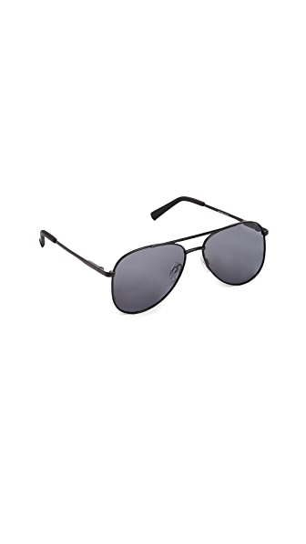 Le Specs Kingdom Aviator Polarized Sunglasses In Matte Black/Smoke Mono