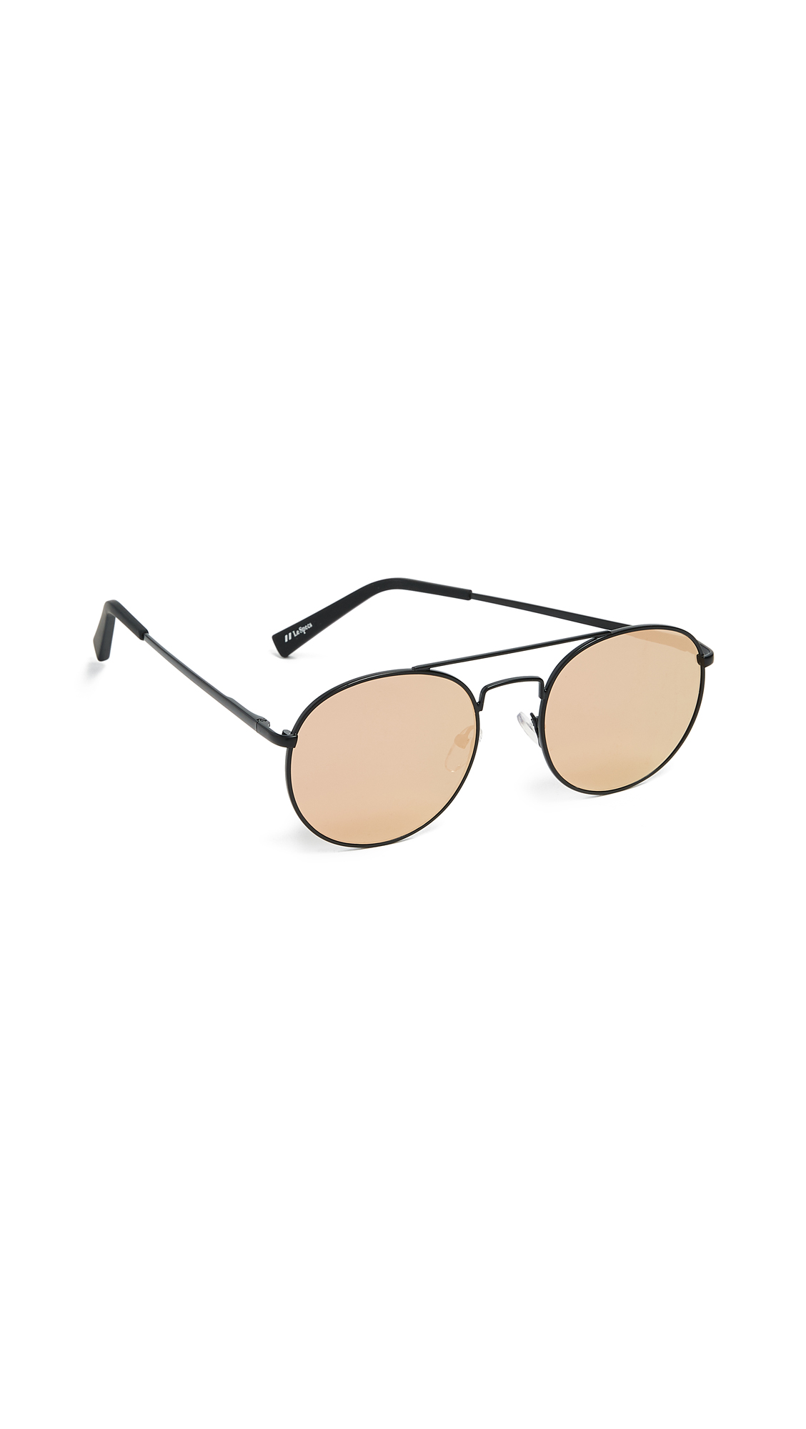 Le Specs Revolution Sunglasses In Matte Black/Brass Revo Mirror