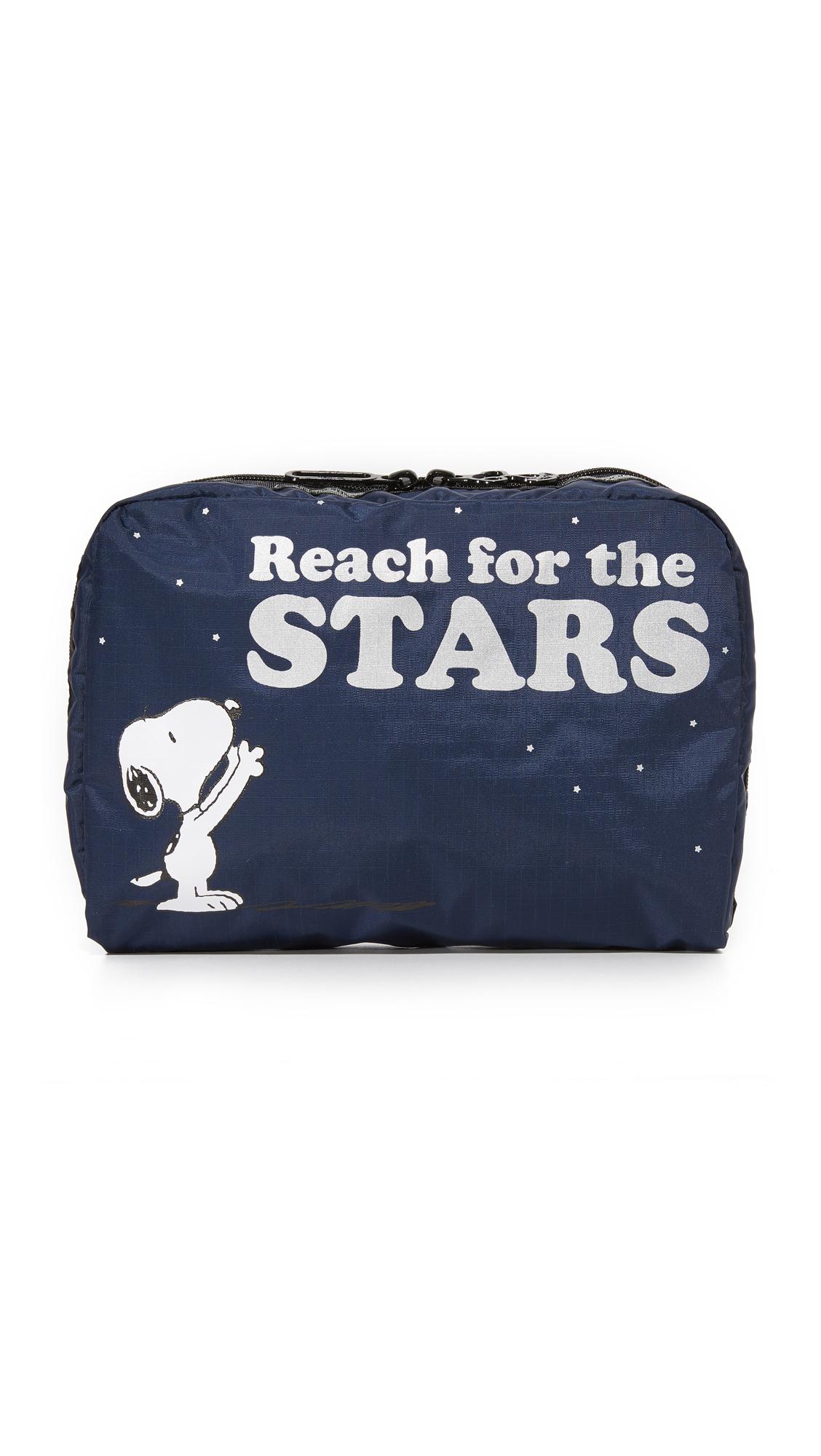 lesportsac female lesportsac peanuts x lesportsac extra large rectangular cosmetic case reach for the stars