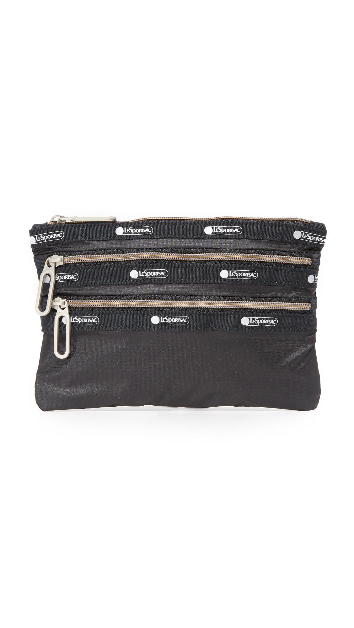 lesportsac female lesportsac classic 3 zip pouch true black