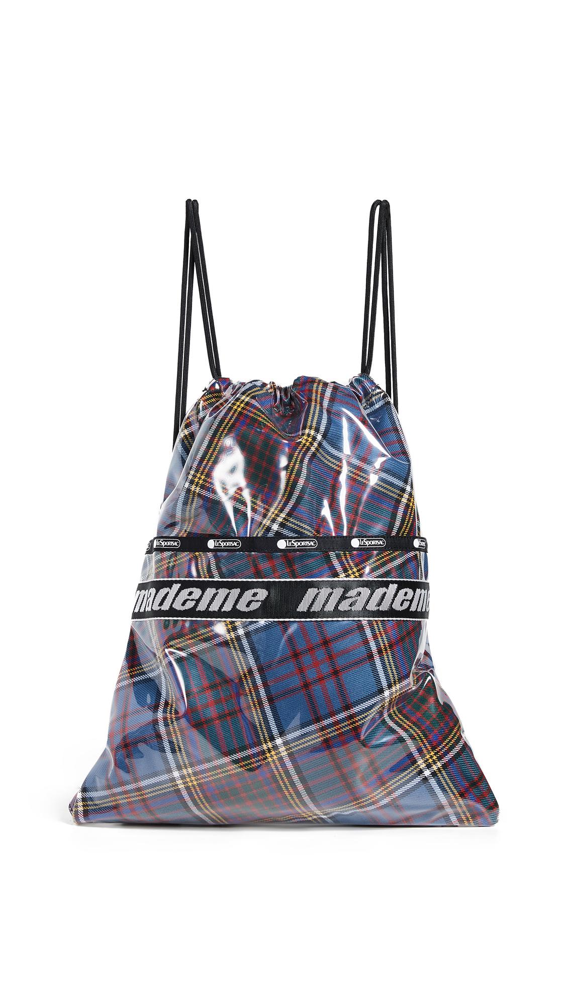 LESPORTSAC X Mademe Drawstring Backpack in Blue Plaid