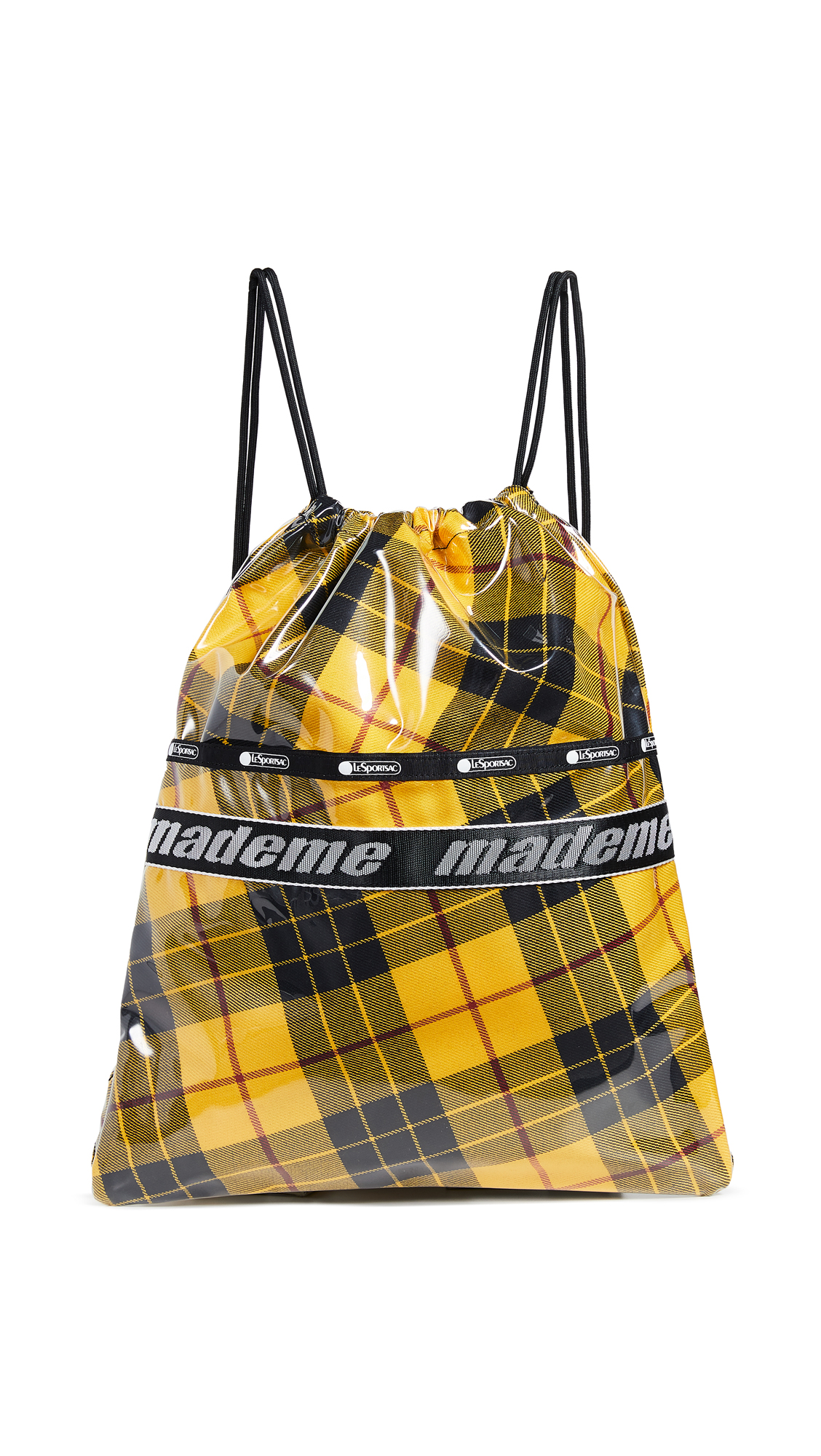 LESPORTSAC X Mademe Drawstring Backpack in Yellow Plaid