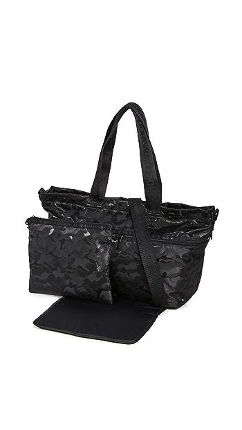 LeSportsac Carlin Diaper Bag Tote - Black Camo