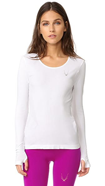Lucas Hugh Core Technical Knit Long Sleeve Top - White
