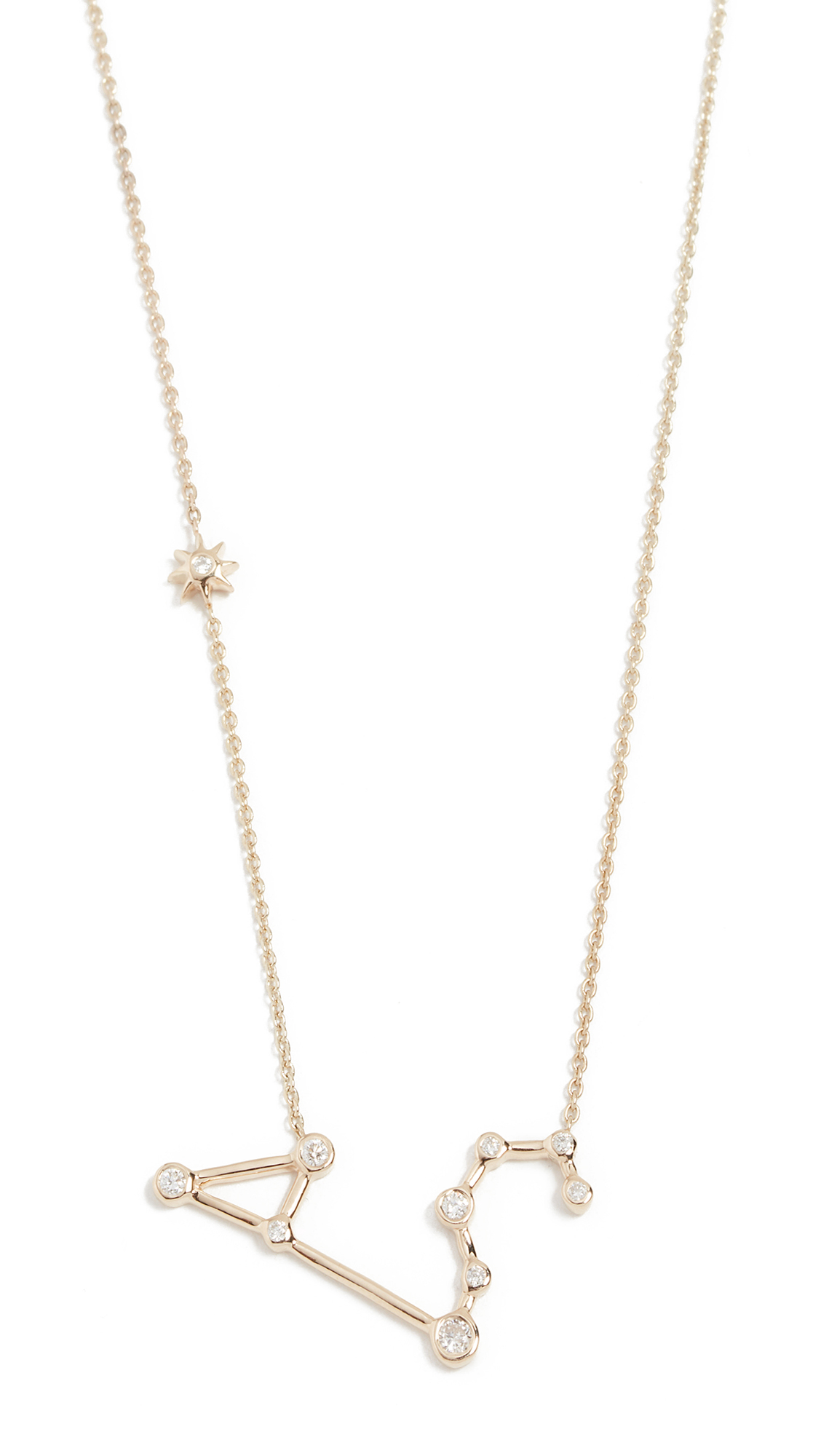 LULU FROST 14K Gold Leo Necklace With White Diamonds
