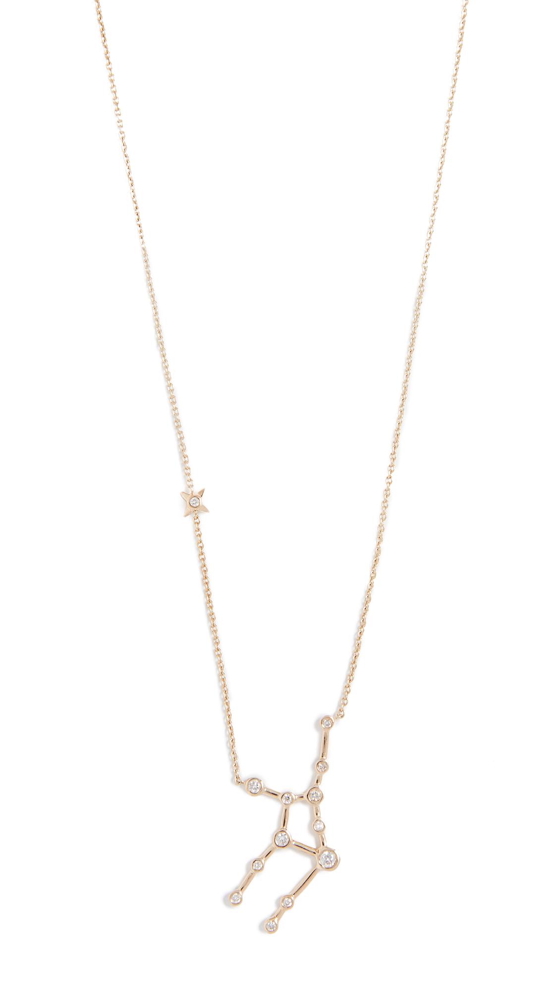 LULU FROST 14K Gold Virgo Necklace With White Diamonds