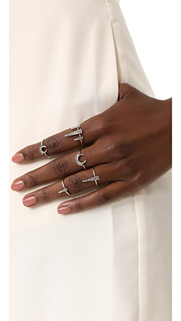 Luv Aj The Crescent Spike Ring Set