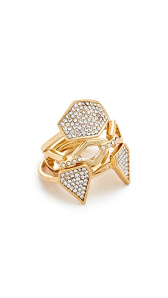 Luv Aj The Pave Shield Ring Set - Antique Gold