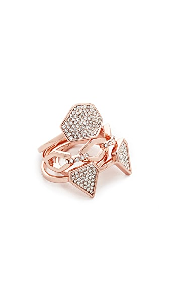Luv Aj The Pave Shield Ring Set - Rose Gold