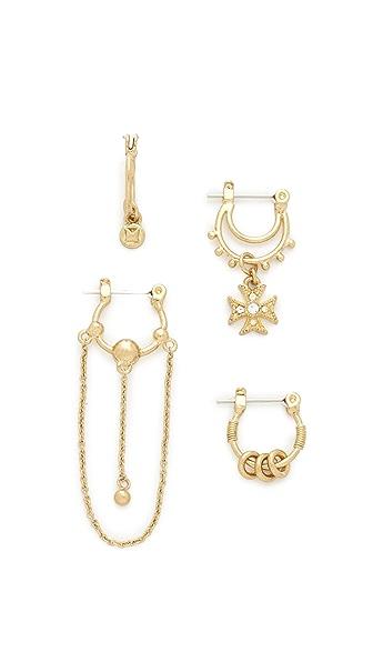 Luv Aj Heli Hoop Huggie Set Earrings - Antique Gold