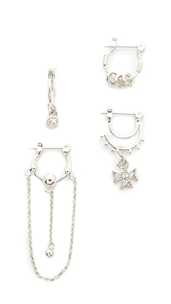 Luv Aj Heli Hoop Huggie Set Earrings - Antique Silver