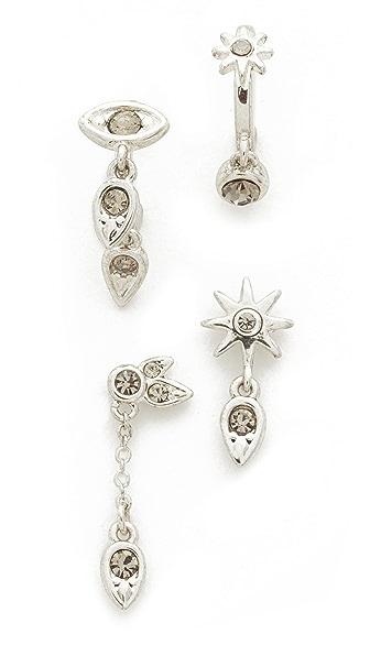 Luv Aj The Revel Starburst Earrings Set In Silver Ox