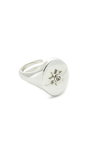 Luv Aj The Revel Starburst Signet Ring - Silver Ox
