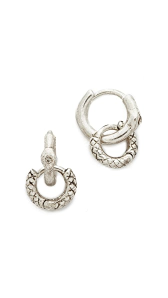 Luv Aj The Double Serpent Huggie Earrings - Silver Ox