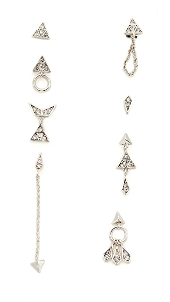 Luv Aj The Pave Kite Mixed Earring Set In Silver Ox