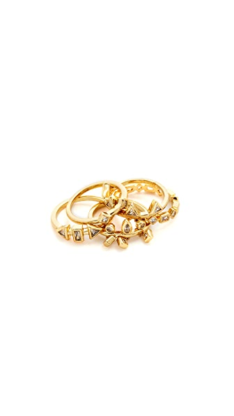 Luv Aj Medley Stone Ring Set In Antique Gold