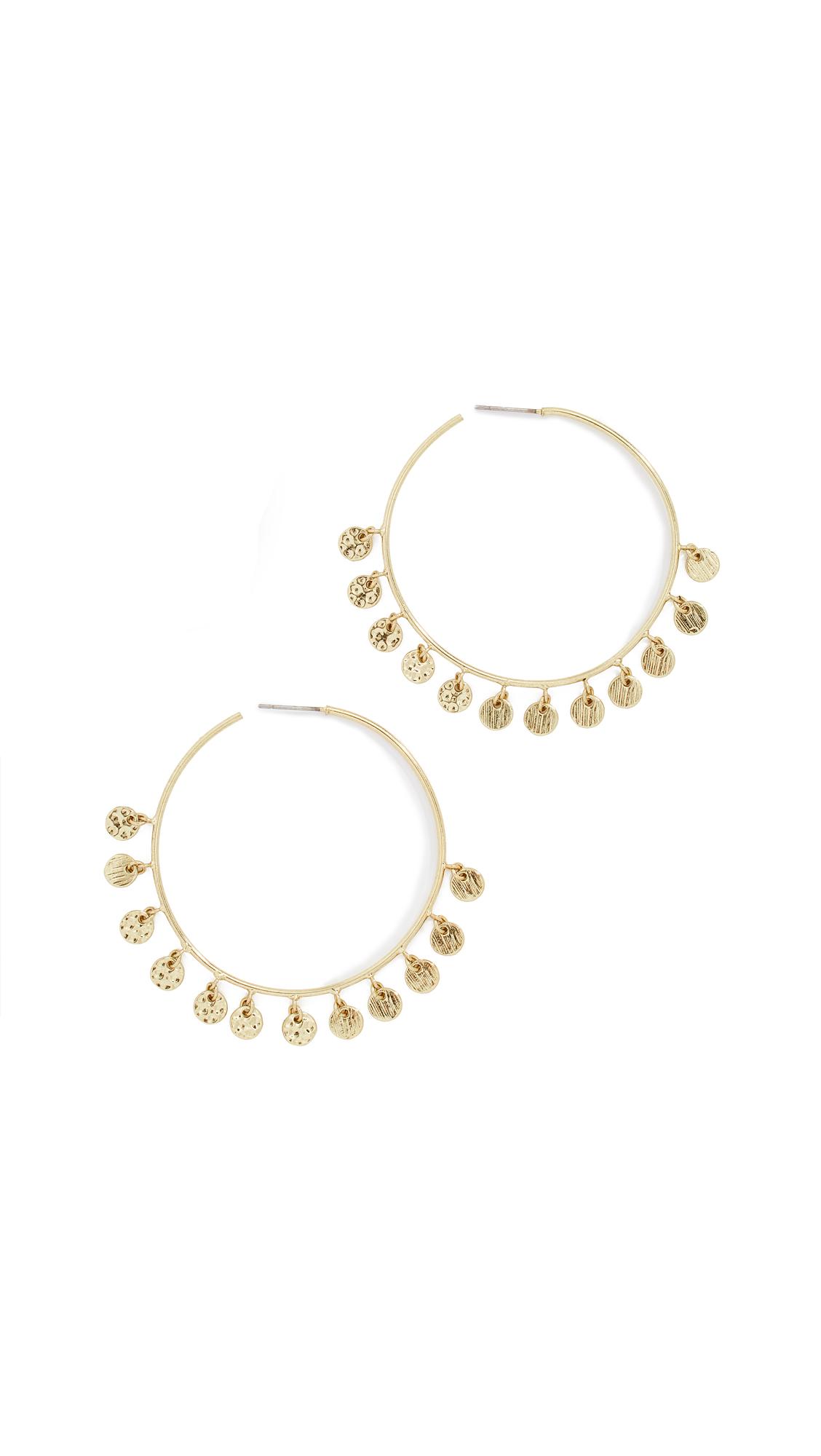 LUV AJ Hammered Disc Hoop Earrings in Yellow Gold