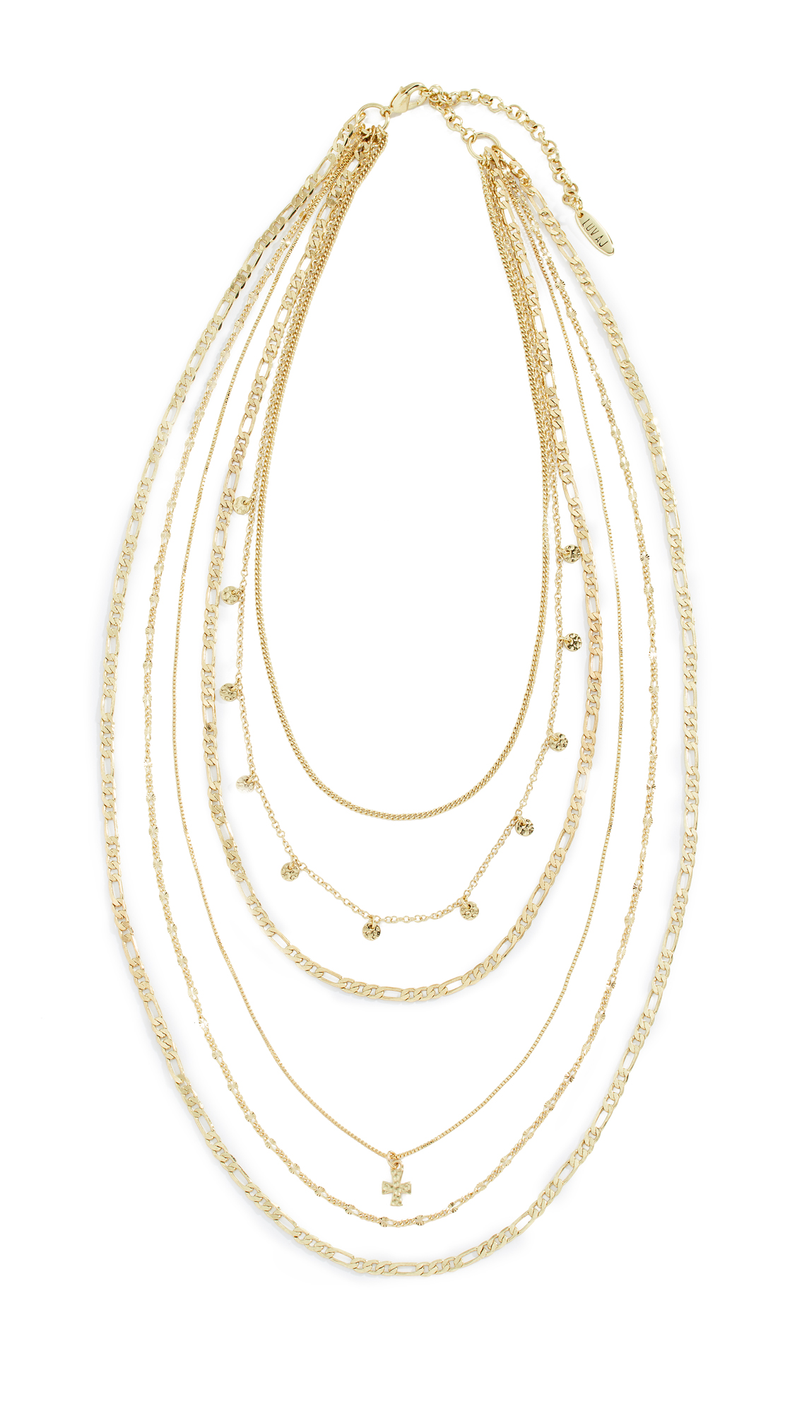 LUV AJ Hammered Cross Layered Charm Necklace in Yellow Gold