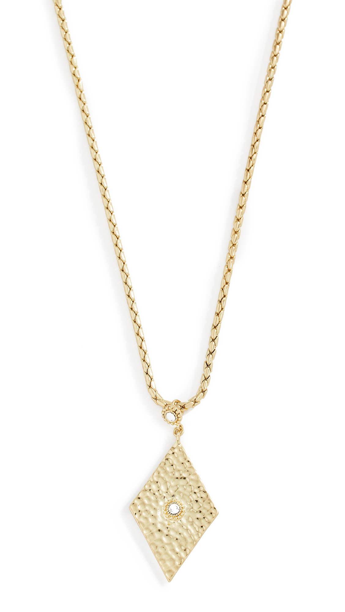 LUV AJ Hammered Triangle Charm Necklace in Yellow Gold