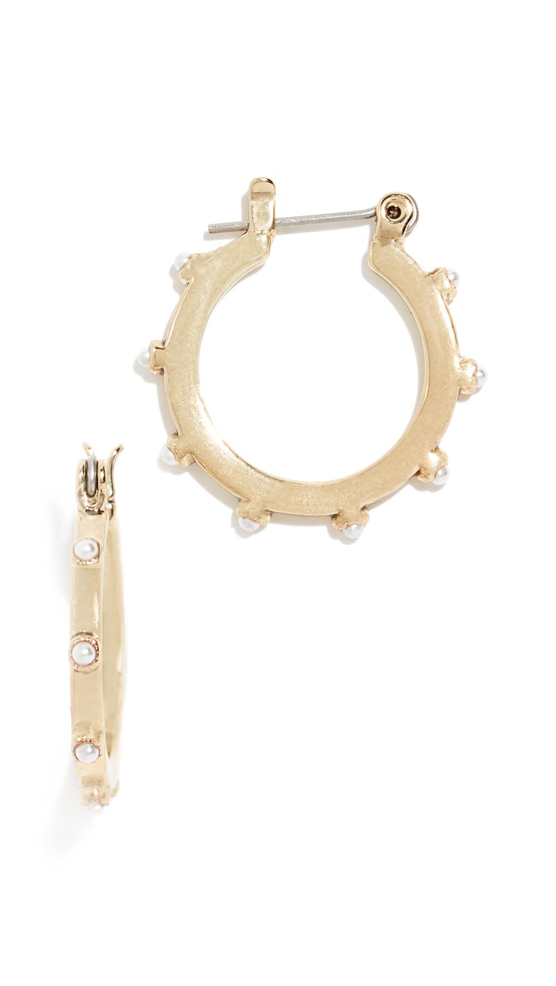 LUV AJ Mini Bezel Cultured Pearl Hoop Earrings in Gold
