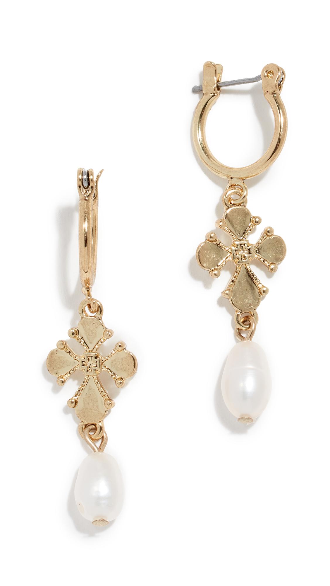 LUV AJ Nouveau Cross & Cultured Pearl Earrings in Gold