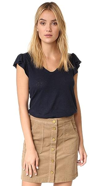 La Vie Rebecca Taylor Short Sleeve Washed Ruffle Tee - Navy at Shopbop