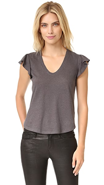 La Vie Rebecca Taylor Short Sleeve Washed Ruffle Tee - Gunpowder