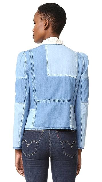 La Vie Rebecca Taylor Indigo Chambray Patchwork Jacket